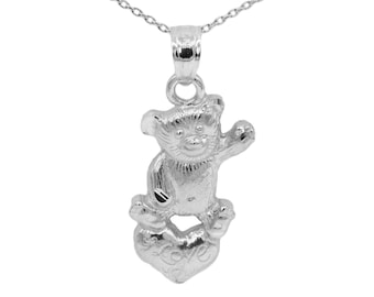 14k White Gold Teddy Bear Necklace