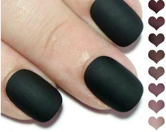 Press On Nails Short - Matte Fake Nails - Acrylic Nails - Oval Nails - Gel Nails - Gift for Her - Nude Nails - Artificial Nails - Black Nail