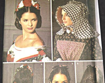 Simplicity 5740•Women's Hat Sewing Pattern•Misses' Civil War Millinery/Hair Patterns• Misses Bonnet Pattern•Historical Hat Patterns•Snoods