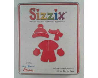 """Red Sizzix die #38-0106 """"Doll Winter Clothes""""; new in original case; scrapbooking;die cuts; card making; paper craft; paper doll clothes"""