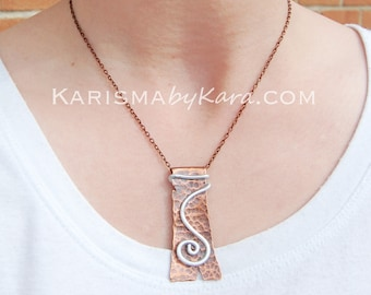 Copper. Silver. Hand Cut. Spiral. Pendant. Necklace.
