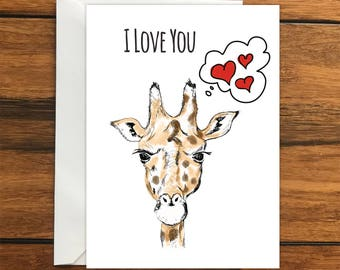 I Love You Giraffe greeting card A6 One Card and Envelope Valentine's Romantic