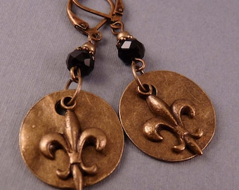 Brass Earrings Fleur de Lis Earrings Brass Jewelry Metal Jewelry Beaded Earrings Beaded Jewelry Fleur de Lis Jewelry