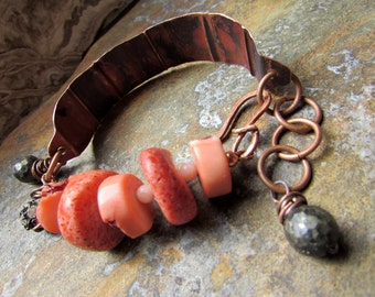Coraline - Fold-Formed Copper and Coral Bracelet with Pyrite and Rhinestones, Boho Gypsy HIppie Jewelry, Rustic Style, Chuncky Nuggets