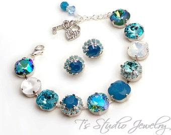 Turquoise Aqua Marine Spa Blue Bridesmaid Wedding Bracelet - 12mm