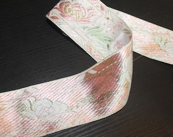 lovely white and pink embroidered ribbon trim