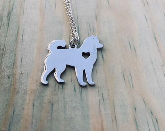 READY TO SHIP Siberian Husky/Alaskan Malamute Necklace