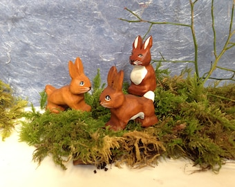 natural wooden hand-made carved animal easter rabbits collection