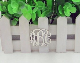 Silver monogram necklace,1.5 inch monogram necklace,Personalized monogrammed gift for women