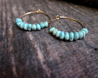 Gold Turquoise Earrings,Turquoise Hoops,Turquoise Hoop Earrings,Turquoise Earrings Gold,Everyday Earrings,Tribal Hoops,Turquoise Earrings