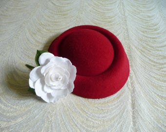 Cranberry Red Pillbox Style Faux Wool Felt Fascinator Base for DIY Hat Projects Millinery Supply