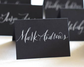 Black and White Place Card Calligraphy