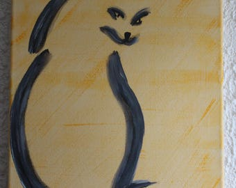 Cat SILHOUETTE painting yellow Fund
