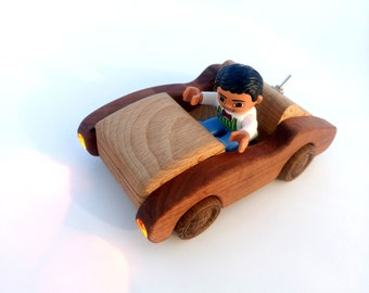Wooden car toy Lighting Race Wooden Decorative car Wooden dollhouse Kids Car with weels Eco Friendly Toy Montessori waldorf Personalized toy