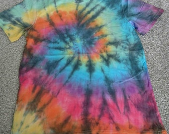 Rainbow tie dye swirl tshirt with black detail