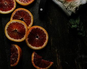 Food Photography, Still Life, Dark Photography, Dark Orange, Food Art, Kitchen Decor, Restaurant Decor, Wall Art, Home Decor