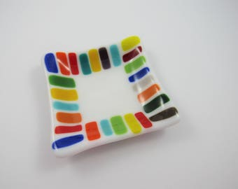 Fused Glass Colorful Dish