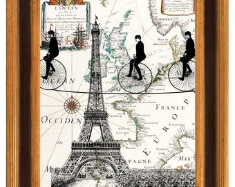 Eiffel  bike Tower Print on antique  map of EuropeTightroper riders  crossing Eiffel Tower Print  antique  wall decor art illustration