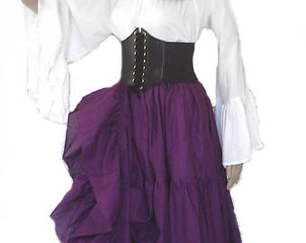 Renaissance Blouse Chemise Cotton Shirt Pirate Medieval Peasant Steampunk Wench White Long Sleeve S - XL