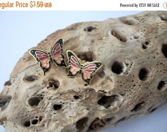 ON SALE Vintage Colorful Cloisonne Butterfly Stud Earrings 102816
