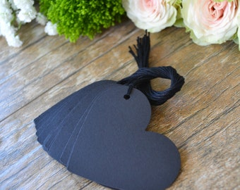 black heart hang tags with string, black heart price tags, black heart gift tags, black heart favor tags, wedding favor tags- 15 tags