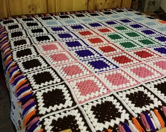 Crochet Granny Square multi-colored  Afghan