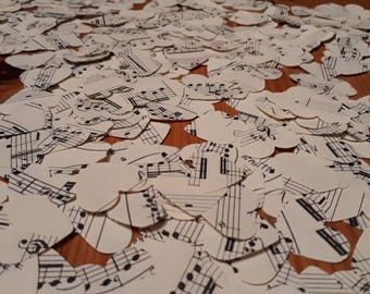 1750 Large confetti hearts punched from vintage sheet music over  in quantity- party table scatter confetti - wedding table decoration