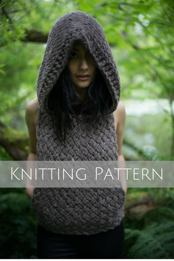 Oversized Hoodie Vest Knitting Pattern - Handmade Clothing Women ...