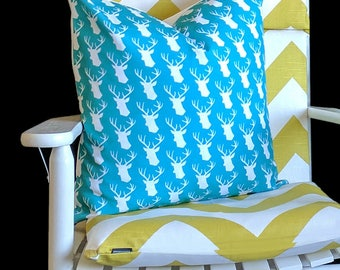 Turquoise Blue Stag Pillow Cover