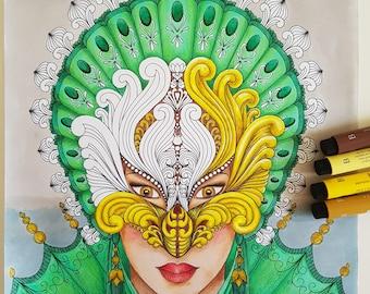 Dessin de venise etsy - Coloriage carnaval de venise ...