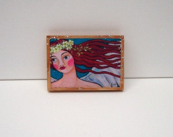 "Folk Art Angel Painting Woodblock Print Encaustic  5 1/2"" x 4"""