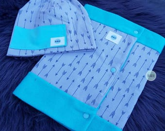 Beanie & scarf with snaps