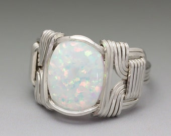 White Fire Man-Made Opal Cabochon Sterling Silver Wire Wrapped Ring - Made to Order and Ships Fast!