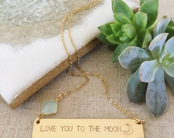 New! Gold Filled Love You To The Moon Bar Necklace