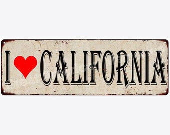 I Love California Vintage Look Reproduction Metal Sign 6x18 6180343