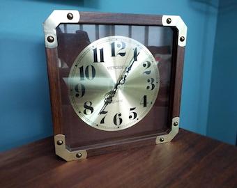 Vintage Mercedes Wood Brass Clock