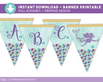 Mermaid Party Printable Banner • Water Color Mermaid Birthday Party Banner Instant Download