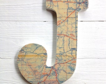 Custom Map Letter - Initials, Hometown, City, State, Country