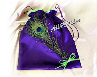 Peacock Wedding Money Dance Bag, Purple and Green Peacock Bridal Drawstrting Bag