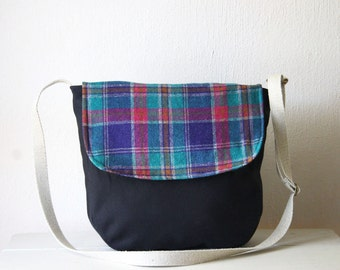 Medium Satchel Bag. Canvas Messenger Crossbody Bag Canvas Shoulder Bag Purple Plaid Carry All Day Bag Wool Messenger Bag Medium