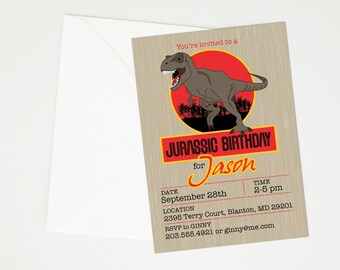 Jurassic Park, Jurassic World Dinosaur Birthday Party Invitation - Printable T-Rex Party, Dinosaur Fossil, Dino Dig