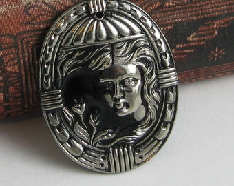 Czech Glass Pendant, vintage style, pressed glass, black with silver colored highlights