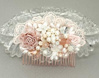 Blush Hair Accessories- Blush Pink Hairpiece- Wedding Hair Accessories-Blush Bridal Comb- Blush Hair comb- Pink Bridal comb- Blush Hairpiece