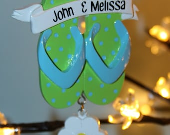 Flip Flops with names personalized ornament