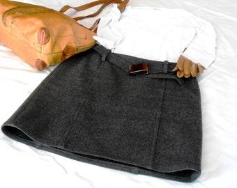 ON SALE-20% off  Dark gray vintage miniskirt, Les Copains, original 90s, small size