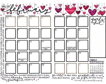 Colorable February 2018 Hanging Valentine Hearts on Strings Bullet Journal Calendar Page Download