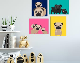Dog Kids Wall Art, Dog Kids Art, Pet Lovers Gift, Dog Nursery Art, Dog Nursery Decor, Pug Gift, Gift Under 20, Bulldog Art, Set of 4