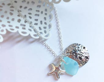 Sea Glass, Sandollar, Starfish Necklace | Blue Sea Glass Jewellery | Sea Glass Jewelry | Beach Glass | Natural Jewellery | Beach Lover Gift