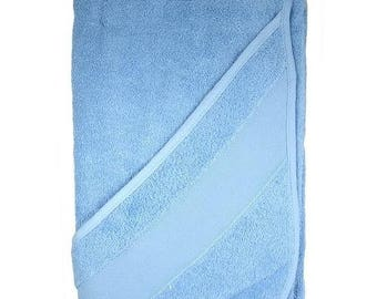 Towel with embroidery stripe and baby with hood, 75 x 75 cm, blue 100% cotton