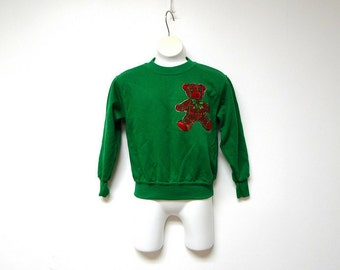 American Expressions . vintage green sweater . child size 5/6 medium . made in USA
